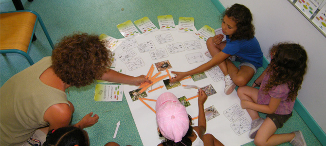 Des enfants accompagnés d'un animateur utilisent un outil pédagogique sur la chaine alimentaire