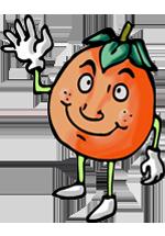 Personnage d'orange souriant qui lève la main