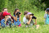 Un groupe d'enfants et leur animatrice observent des oiseaux à l'aide de jumelles