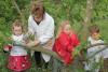 Trois enfants accompagnés d'un animateurs badigeonnent d'argile un arbre fruitier du verger de l'Écolothèque