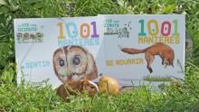 Livres 1001 manières de sentir et 1001 manières de se nourrir, avec une pomme et un bébé cochon d'inde