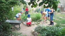 5 enfants et une animatrice jardinent au jardin des sens