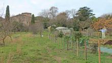 Vue du bâtiment de l'Écolothèque et du jardin de céréales avec un épouvantail