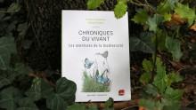 """Livre """"Chroniques du vivant"""" au sol contre un tronc d'arbre avec des feuilles de lierre et de houx"""