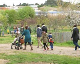 des familles se promènent sur le domaine