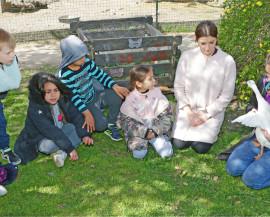 Une animatrice explique en anglais à un groupe d'enfant les caractéristiques morphologiques d'un canard en leur montrant les plumes de ses ailes