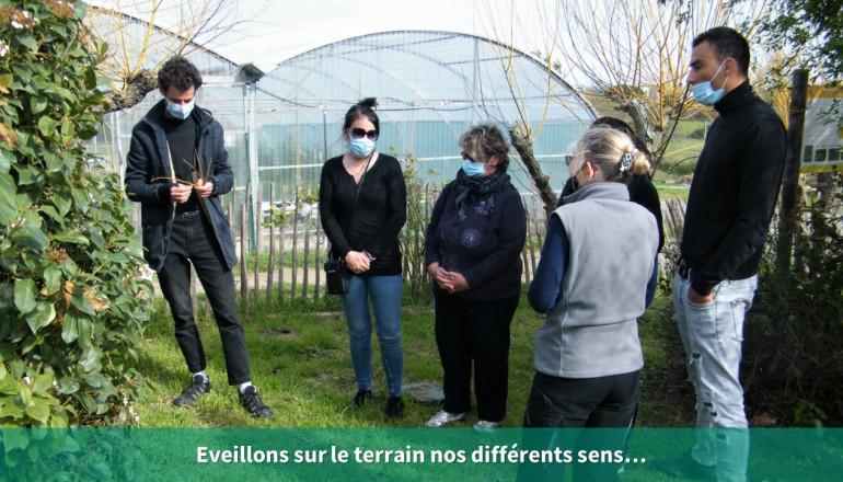 6 personnes dans un jardin discutent en observant le jardin