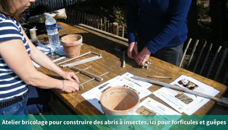 deux personnes construisent des refuges à insectes avec du bois et des pots en terre