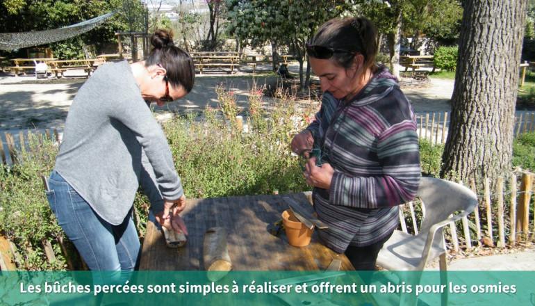 deux personnes percent des morceaux de bois pour offrir un refuge aux abeilles solitaires