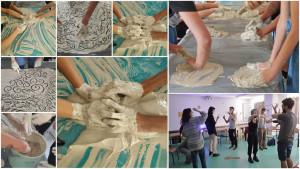 Montage de photos montrant la manipulation de l'argile et des animateurs exprimant des émotions au travers de gestes