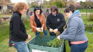 4 personnes mettent des déchets organiques dans un composteur de jardin