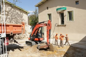 Chantier des travaux de rénovation de l'entrée de l'Écolothèque