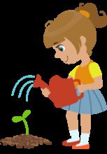Illustration d'une fillette arrosant un jeune plan avec un arrosoir