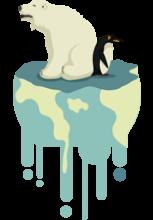 Illustration d'un ours blanc et d'un manchot sur un bout de banquise en train de fondre