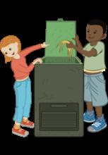 Illustration d'un composteur avec deux enfants dont un qui y dépose de la matière organique