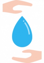 Illustration d'une goutte d'eau entre deux mains