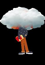 Illustration d'une petite avec un livre dans une main et la tête dans un nuage