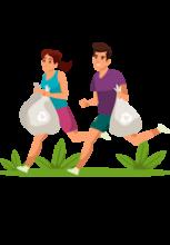 Illustration d'un homme et d'une femme en train de courir portant des sacs-poubelle