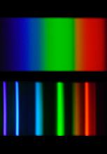 Raies d'émission d'une ampoule à incandescence et d'une ampoule basse consommation