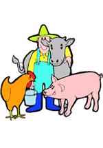 Agriculteur et animaux de la ferme