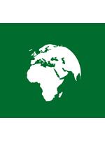 Illustration de la planète Terre verte avec silhouettes vertes de faune et flore