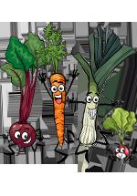 Légumes personnifiés : navet, carotte, poireau et radis