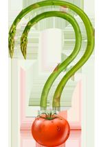Illustration d'un point d'interrogation composé d'une tomate en dessous de deux asperges