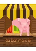 Illustration d'un stand de maraîcher tenu par un cochon