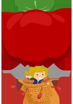 Illustration d'une montgolfière avec une tomate comme ballon et une filette dans la nacelle